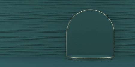Mock up podium for product presentation golden frames pedestal 3D render illustration on green background