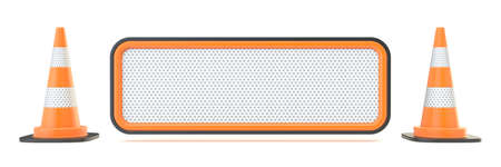 Blank traffic sign with two traffic cones 3D render illustration isolated on white background 版權商用圖片