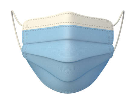 Medical mask front view 3D render illustration isolated on white background