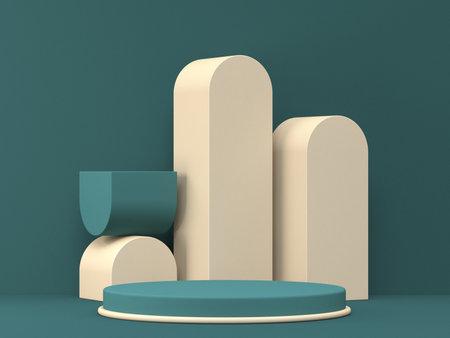 Mock up podium for product presentation with brown elements 3D render illustration on green background