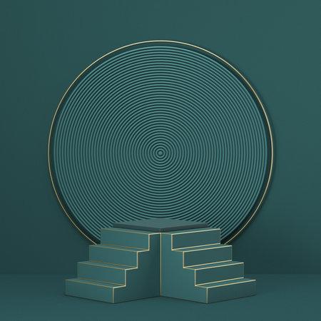 Mock up podium for product presentation 3D render illustration on green background 版權商用圖片