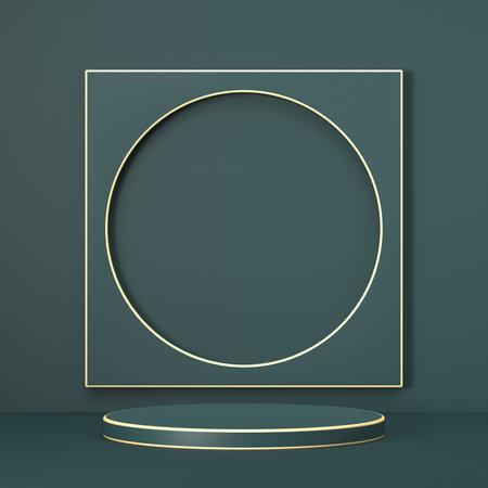 Mock up podium for product presentation circle and square golden outlined 3D render illustration on green background