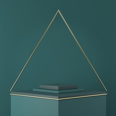 Mock up podium for product presentation golden wire pyramid 3D render illustration on green background 版權商用圖片