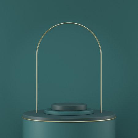 Mock up podium for product presentation cylinders and golden arc 3D render illustration on green background