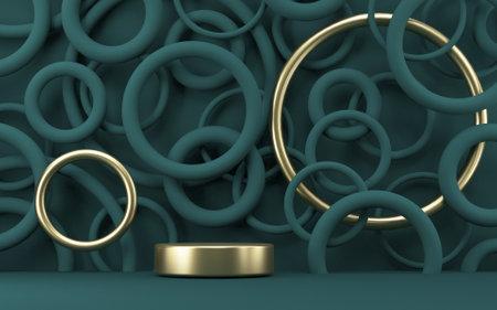 Mock up podium for product presentation two golden rings 3D render illustration on dark green rings background