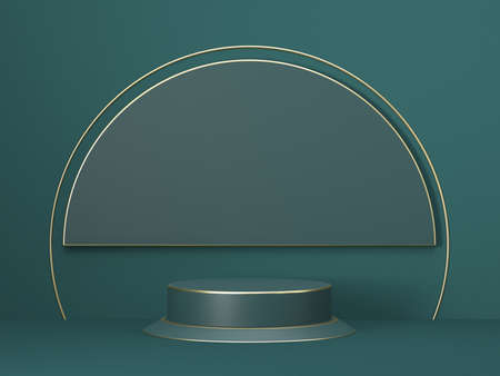 Mock up podium for product presentation circle and cylinders stage 3D render illustration on green background 版權商用圖片