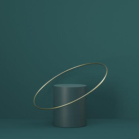 Mock up podium for product presentation cylinder and golden ring 3D render illustration on green background 版權商用圖片