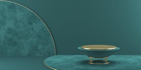 Mock up podium for product presentation textured circles and golden furniture stand 3D render illustration on green background 版權商用圖片