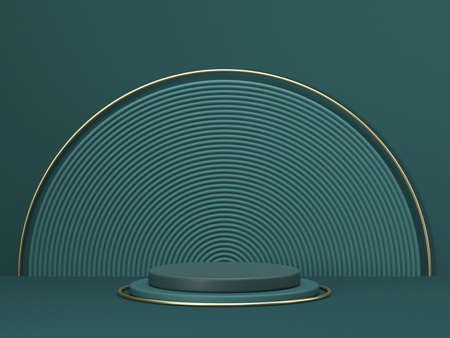 Mock up podium for product presentation concentric circles and cylinders 3D render illustration on green background