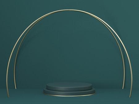 Mock up podium for product presentation golden crossed arcs 3D render illustration on green background