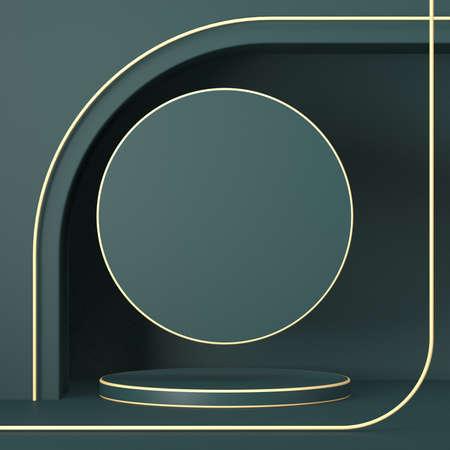 Mock up podium for product presentation with golden lines 3D render illustration on green background