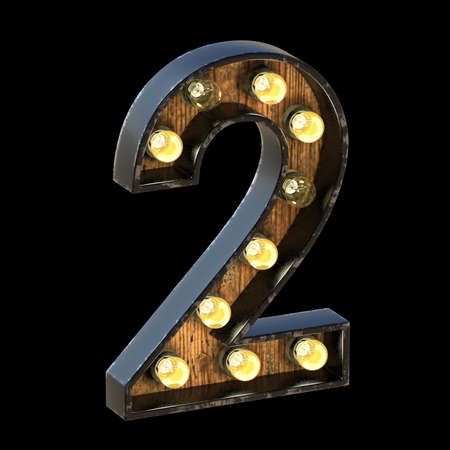 Light bulbs font Number 2 TWO 3D render illustration isolated on black background