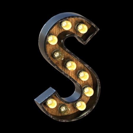 Light bulbs font Letter S 3D render illustration isolated on black background