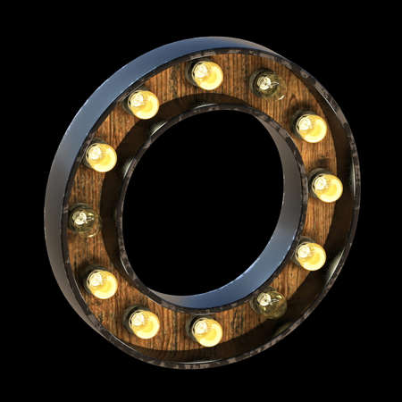 Light bulbs font Letter O 3D render illustration isolated on black background