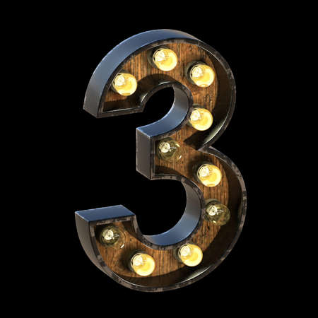 Light bulbs font Number 3 THREE 3D render illustration isolated on black background