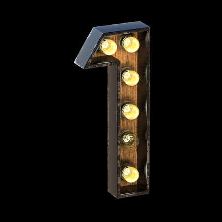 Light bulbs font Number 1 ONE 3D render illustration isolated on black background