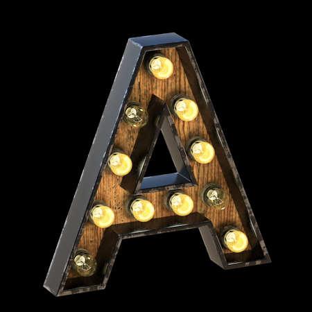 Light bulbs font Letter A 3D render illustration isolated on black background 版權商用圖片