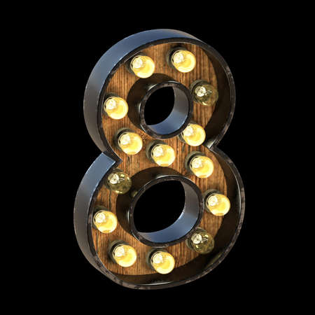 Light bulbs font Number 8 EIGHT 3D render illustration isolated on black background