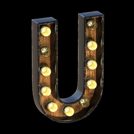 Light bulbs font Letter U 3D render illustration isolated on black background