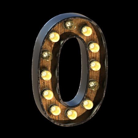 Light bulbs font Number 0 ZERO 3D render illustration isolated on black background