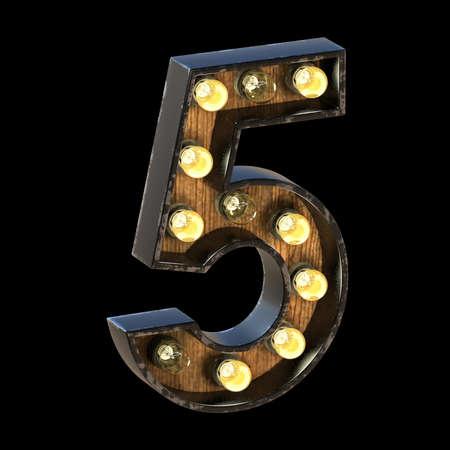 Light bulbs font Number 5 FIVE 3D render illustration isolated on black background 版權商用圖片