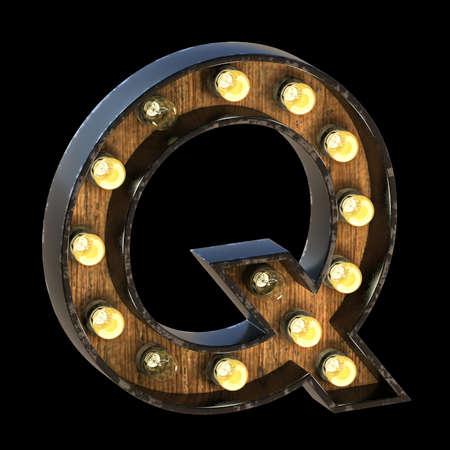 Light bulbs font Letter Q 3D render illustration isolated on black background