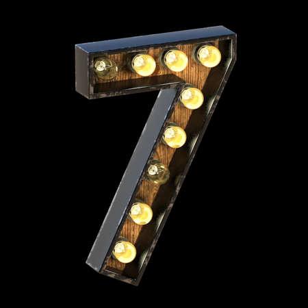 Light bulbs font Number 7 SEVEN 3D render illustration isolated on black background