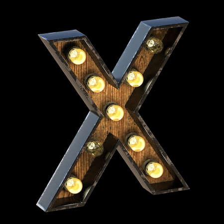 Light bulbs font Letter X 3D render illustration isolated on black background