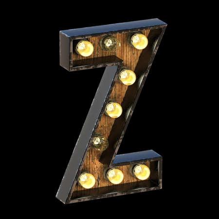 Light bulbs font Letter Z 3D render illustration isolated on black background