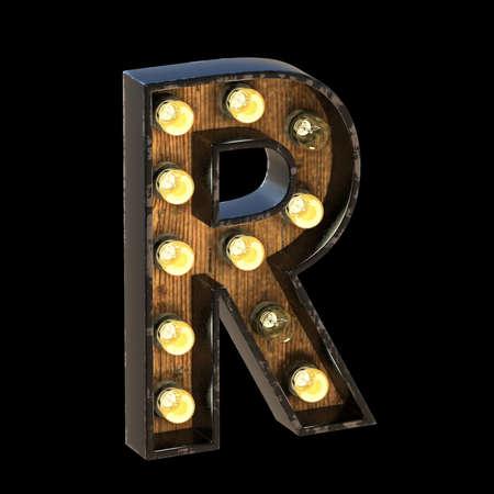 Light bulbs font Letter R 3D render illustration isolated on black background 版權商用圖片