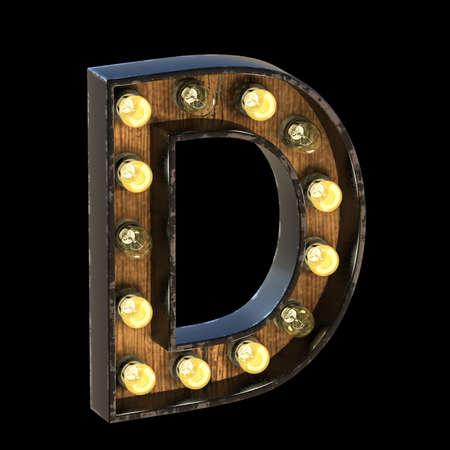 Light bulbs font Letter D 3D render illustration isolated on black background