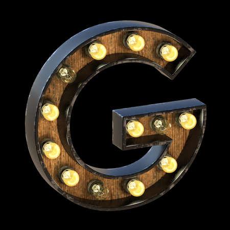 Light bulbs font Letter G 3D render illustration isolated on black background