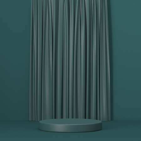 Mock up podium for product presentation with curtain 3D render illustration on green background 版權商用圖片 - 164776046