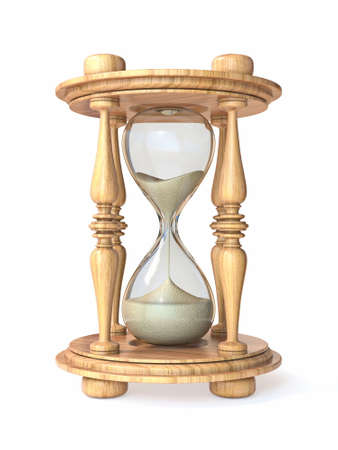 Wooden hourglass 3D render illustration isolated on white background