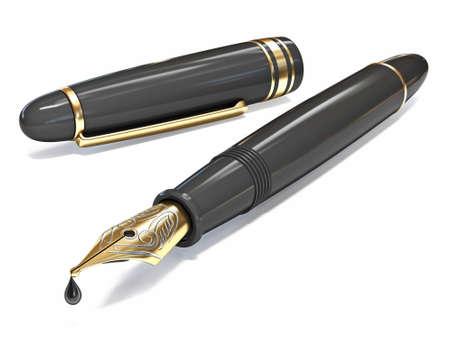 Opened golden black fountain pen 3D render illustration isolated on white background