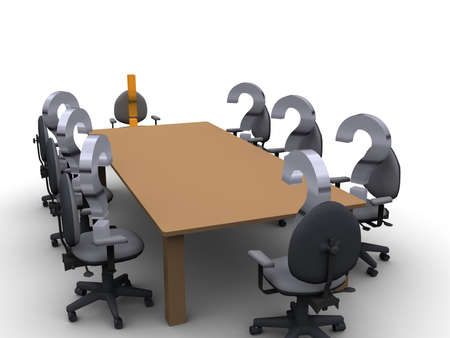 exclamation point: Question marks having a meeting around a table with an exclamation point at the head of the table