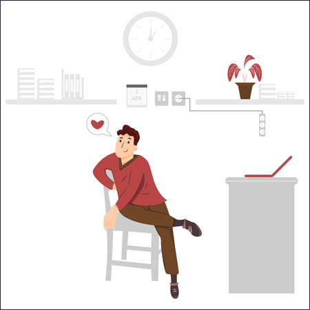 an illustration with the concept of a man daydreaming in a work room because he falls in love