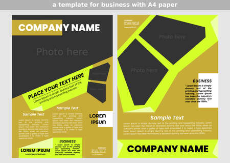 template of a business brochure. A4 size. for corporate business. simple design. several photos in one frame. light green and dark yellow colors