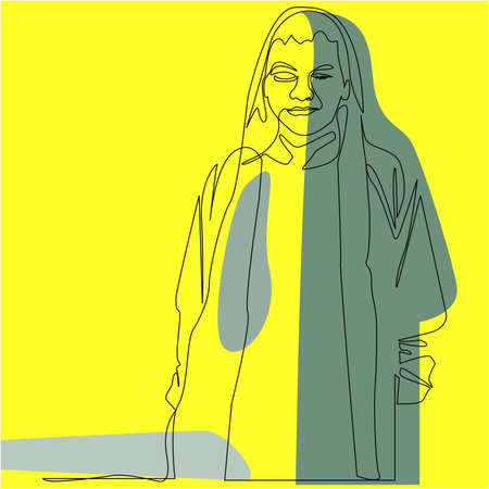 illustration of a one line art. the concept of youth with a jacket with dark coloring and environmental friendliness seen from a yellow background