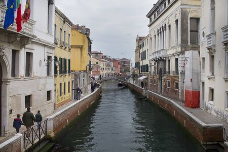 View of canals in Venice with gondolas and bridges Redakční