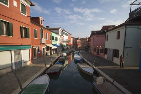 colorful houses on Burano Island in winter
