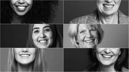 Groupe de six belles femmes de pouvoir multiracial ensemble