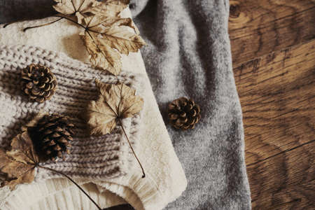 Herbstlaub auf Winterwolle Pullover mit Kiefernzapfen Standard-Bild - 88992484