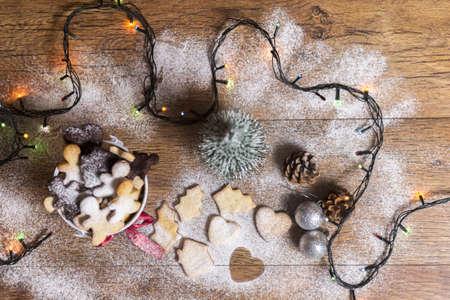 christmas cookies with vanilla sugar. top view