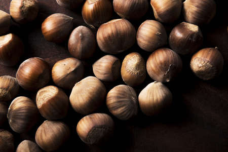 hazel nuts hazelnuts food background Banco de Imagens