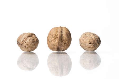 walnuts isolated on white studio background
