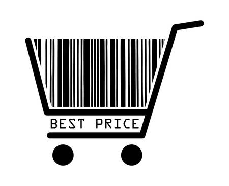 Best price barcode shopping basket Stock Vector - 8034130
