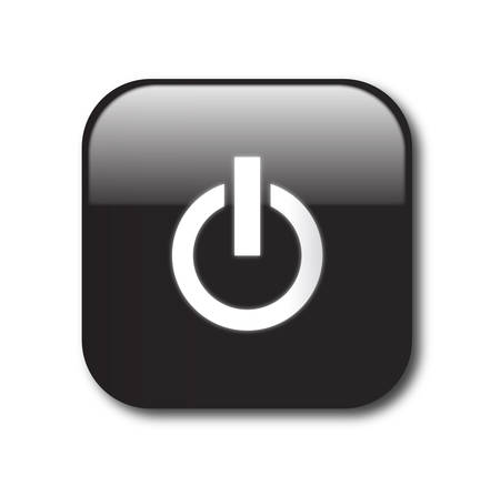 interruttore: Segno di pulsante di potere nero Vettoriali