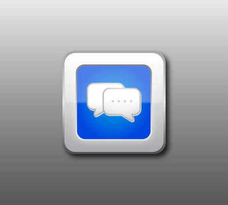 Blue chat button Stock Vector - 8069384