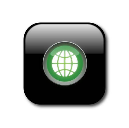 Black globe button Vector